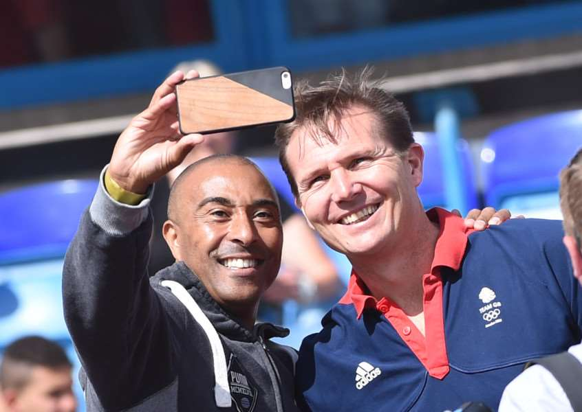 Olympic athletes Colin Jackson and Roger Black take a selfie at the Summer Cup at South Kesteven Sports Stadium in Grantham.