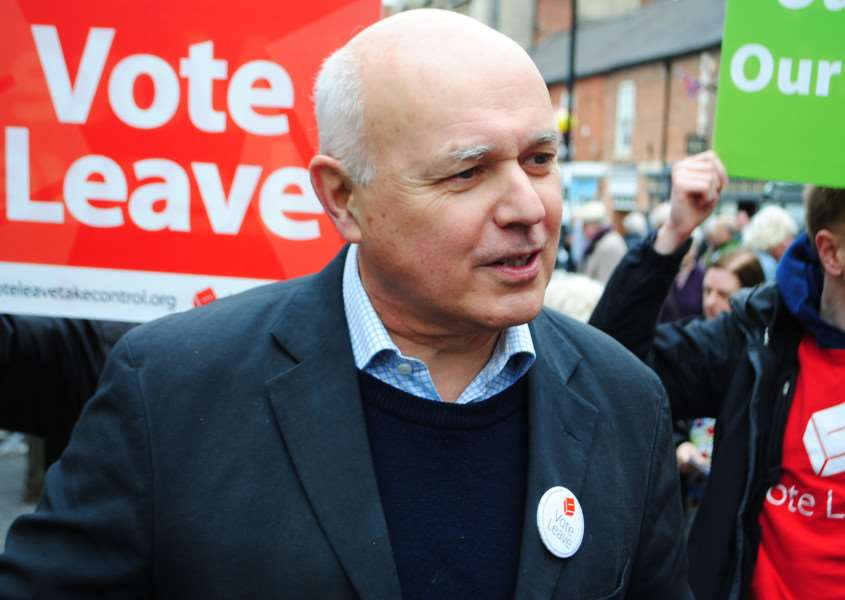 Iain Duncan Smith visits Grantham promoting the Vote Leave campaign.