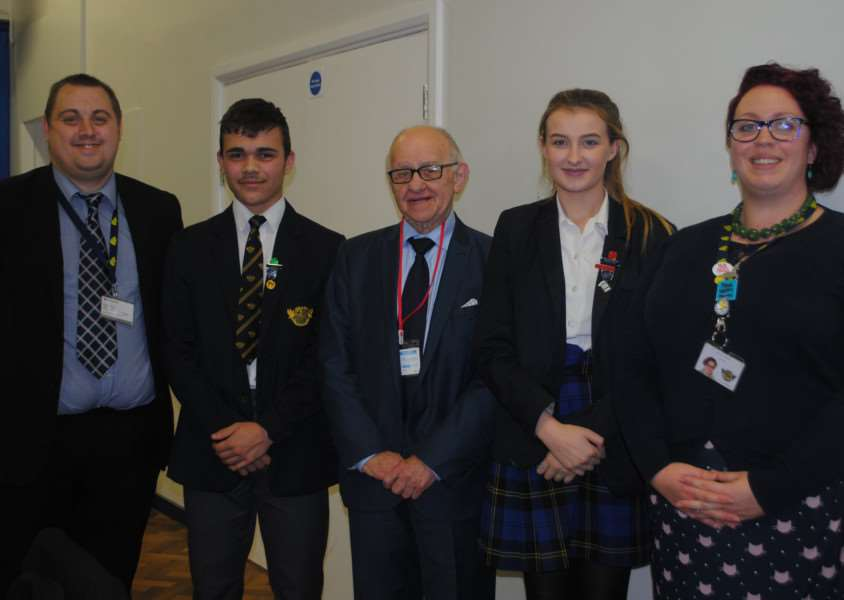Zigi Shipper (centre) pictured with from left, Carl Gregory, head boy Bradley Raado, head girl Katie Hitchcock and special educational needs co-ordinator Emily Mann.