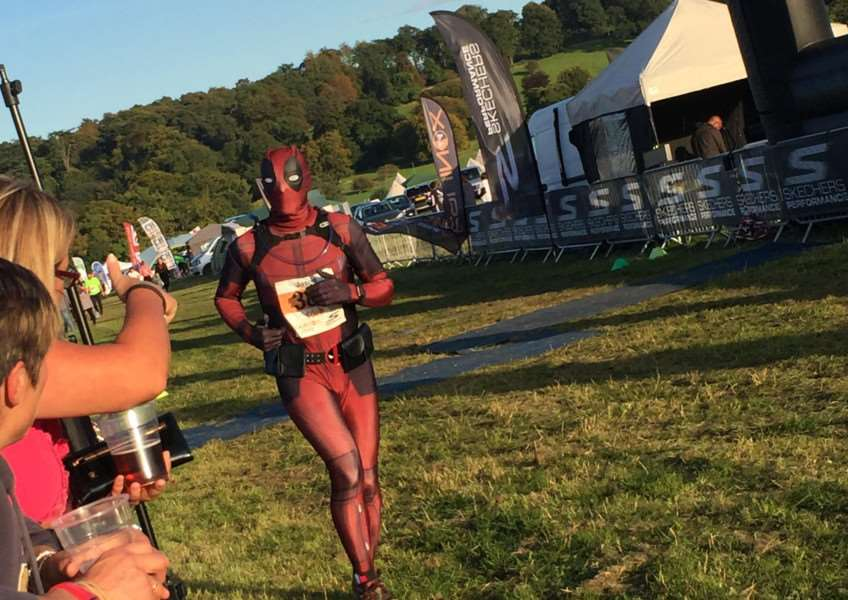Jason Walker dressed up as Deadpool to complete the 24-hour ultra marathon.