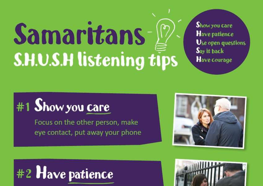 Samaritans SHUSH listening tips.