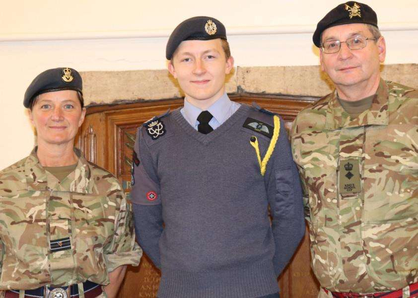 Cadet Flt Sgt William Proctor, centre, with Flt Lt Catherine Barton and Lt Col Ray Ogg of The King's School Grantham Combined Cadet Force.