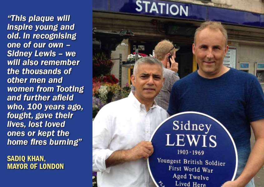 Mayor of London Sadiq Khan and Geoff Simmons with the blue plaque to Sidney Lewis.