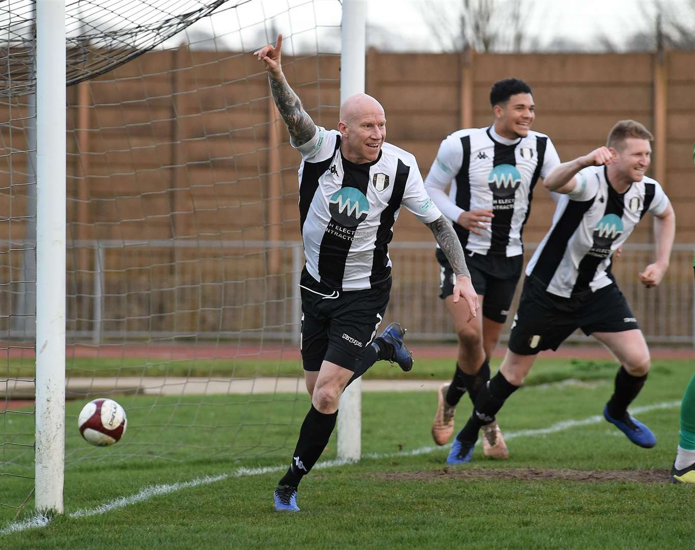 Lee Hughes joins in the celebrations after Curtis Morrison put Town in front. Photo: Toby Roberts (28612772)