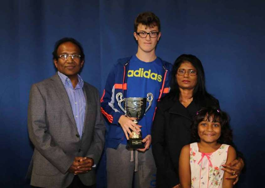 The Sean Jonnalagadda Award saw Robbie Curtis (second left) receive his trophy from Saleem Jonnalagadda, Bincy Jonnalagadda and Chloe Jonnalagadda. kHz_k6mNDQZzeag2KcQr