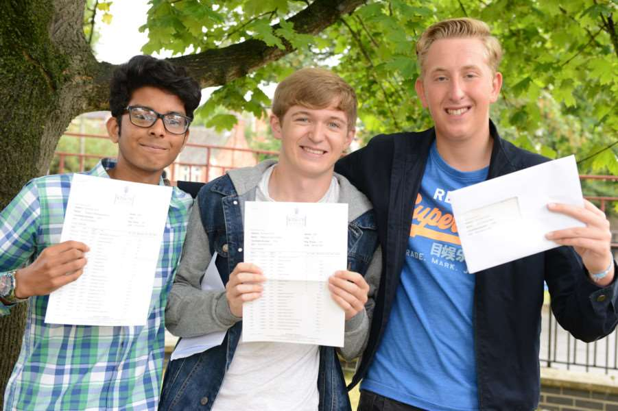 GCSE results at King's School. From left are Gagana Mallawaarachchi, Matthew Slack, Joe Plant. Photo: TRP-25-8-2016-951A (4