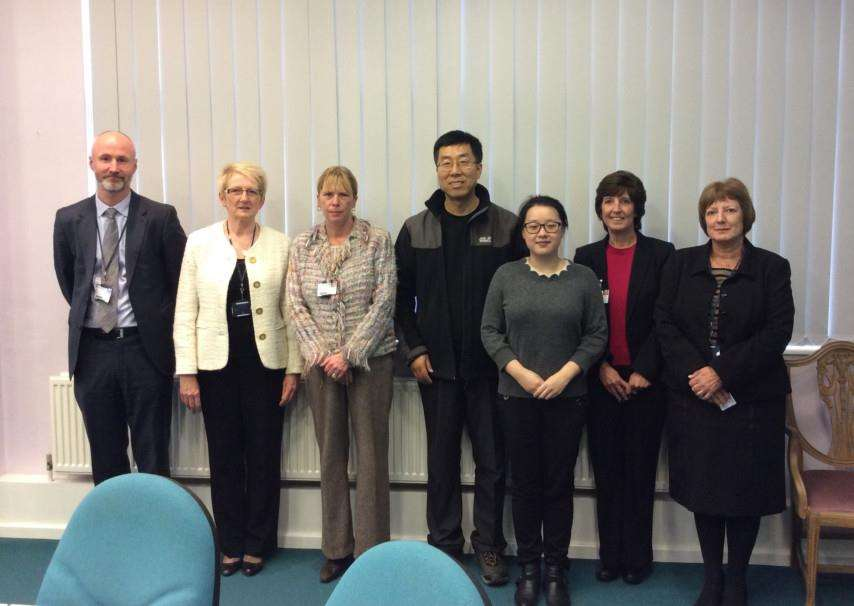 Mr Zhang Jijun, centre, during his visit to Grantham College.