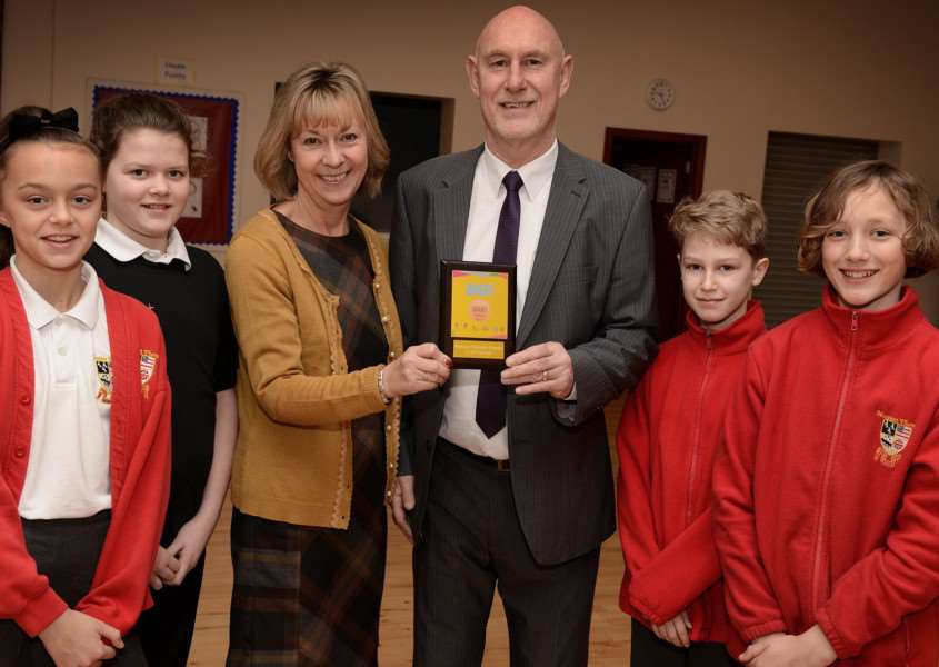 Going for gold: From left, Alice Wright, Gracie Hall, Angela Chadwick, Terry Plumb, James Wilson and Arthur Ridout