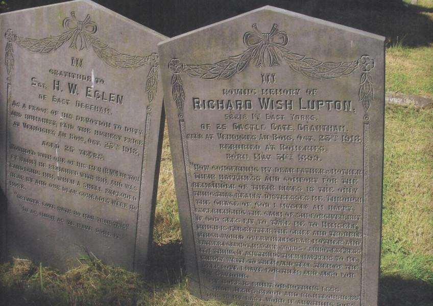 The memorials to Richard Wish Lupton and Sgt H. W. Eglen in Grantham cemetery.