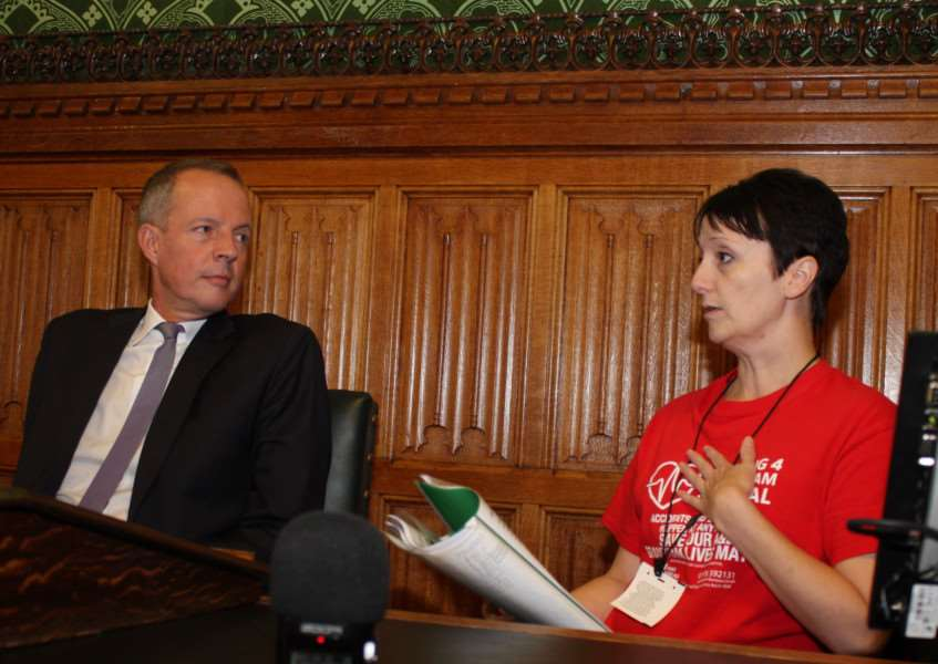 Grantham A&E protest organiser Sarah Stock talks to MP Nick Boles at the House of Commons.