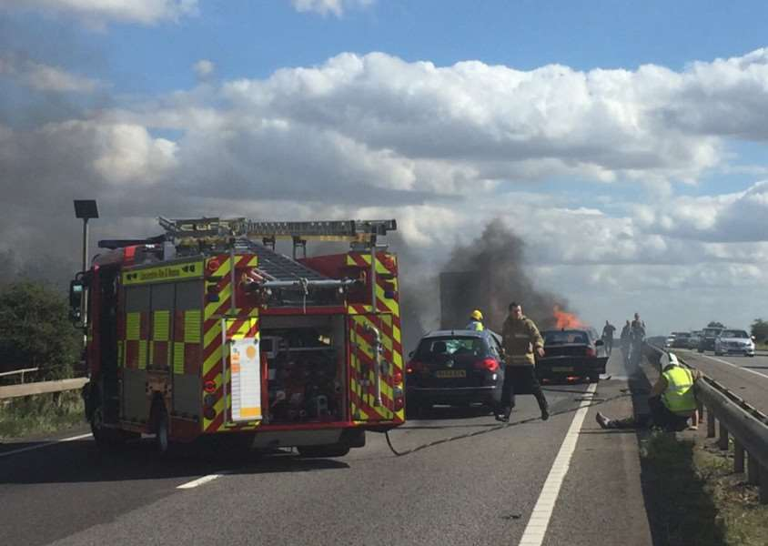 The scene on the A1 at Grantham in which a car burst into flames - Photo: Richard Parkinson