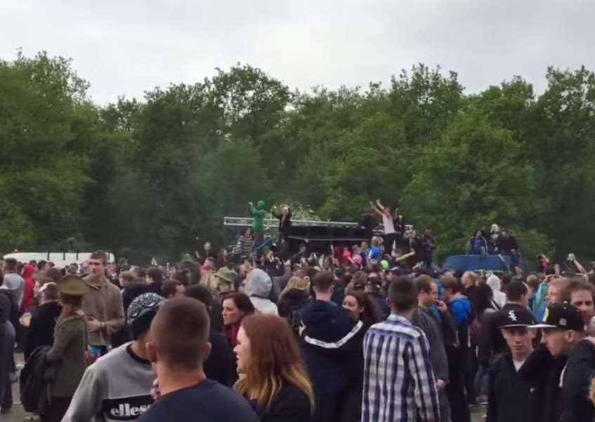 Image of the illegal rave at Twyford Woods in May.