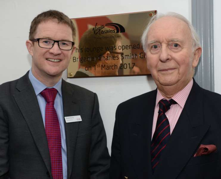 David Horne, Managing Director of Virgin Trains East Coast (left) with Brigadier Charles Smith GM. Photo: Toby Roberts