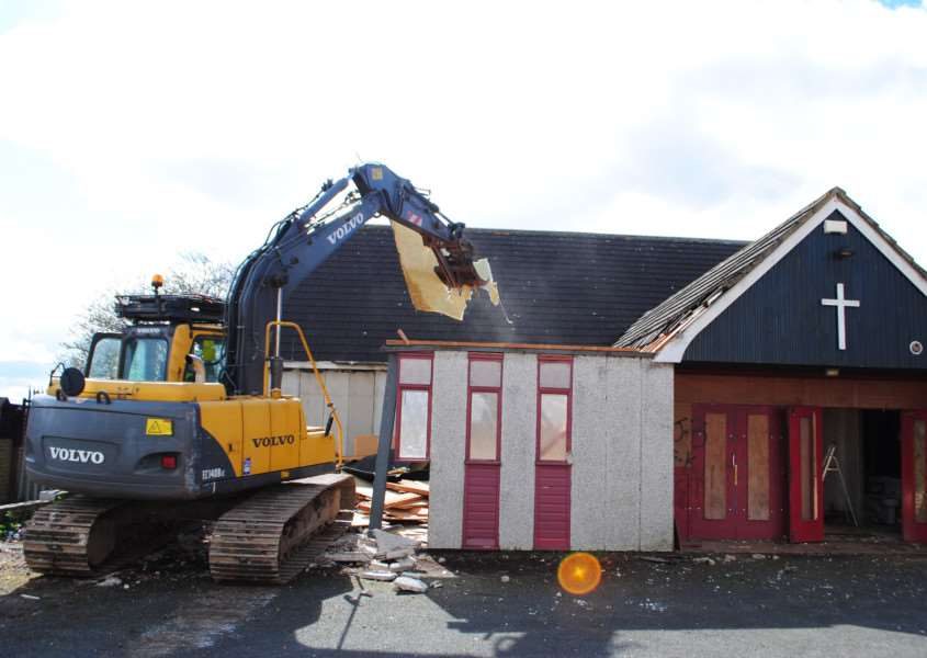 Demolition of the Church of the Epiphany in The Grove, Grantham, has begun.