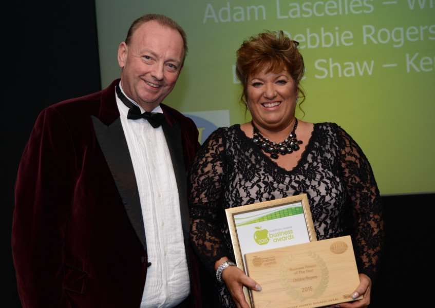 Businessperson of the Year Debbie Rogers of The Boutique with Mark Bates of sponsors Mark Bates Ltd.