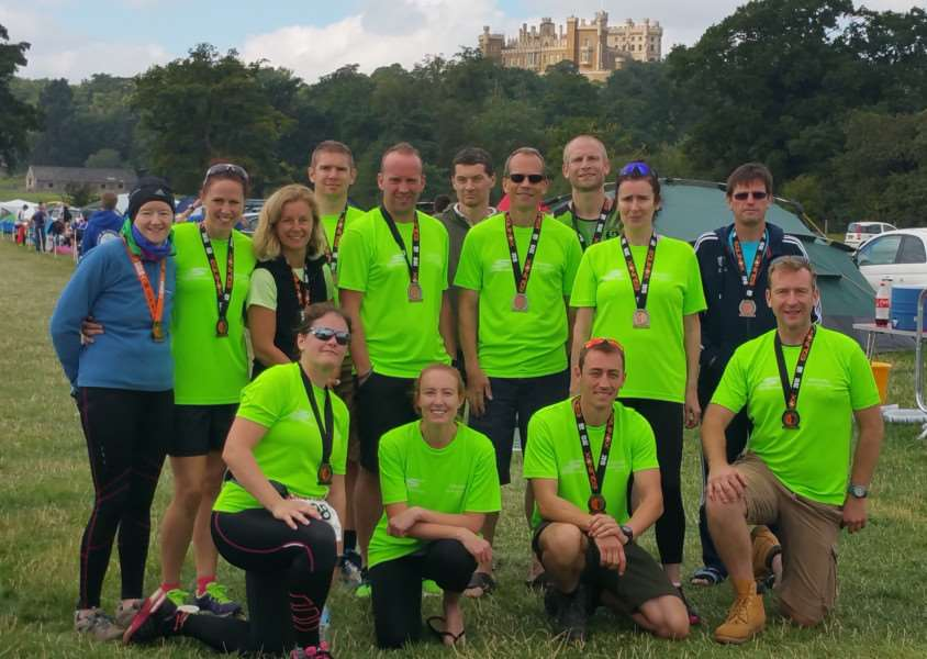 Grantham Running Club members prepare to do battle in the shadow of Belvoir Castle.