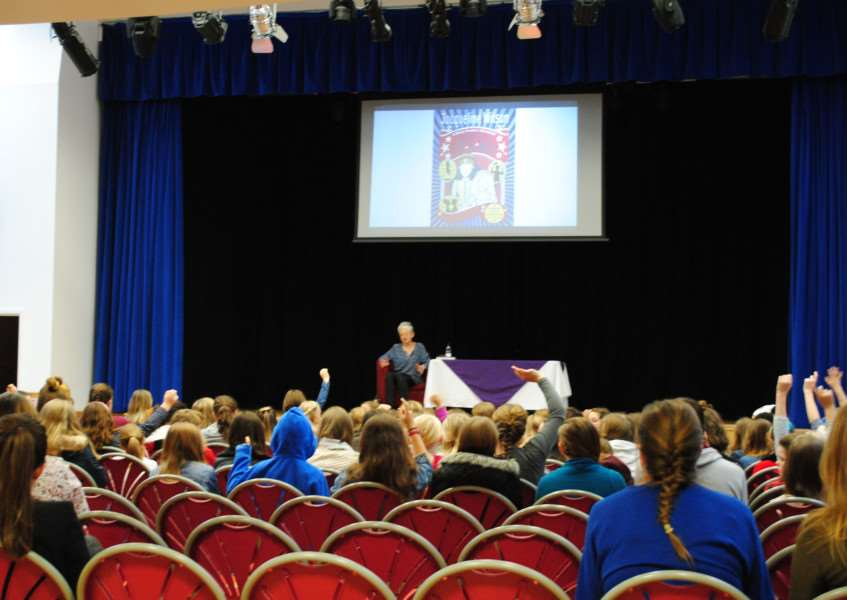 Jacqueline Wilson takes questions from children during her talk at Priory Ruskin Academy.