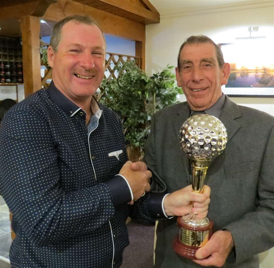 Nigel Corby (left) receives his Senior Golfer of the Year trophy from Sudbrook Moor seniors captain Mick Massingham. (6115318)