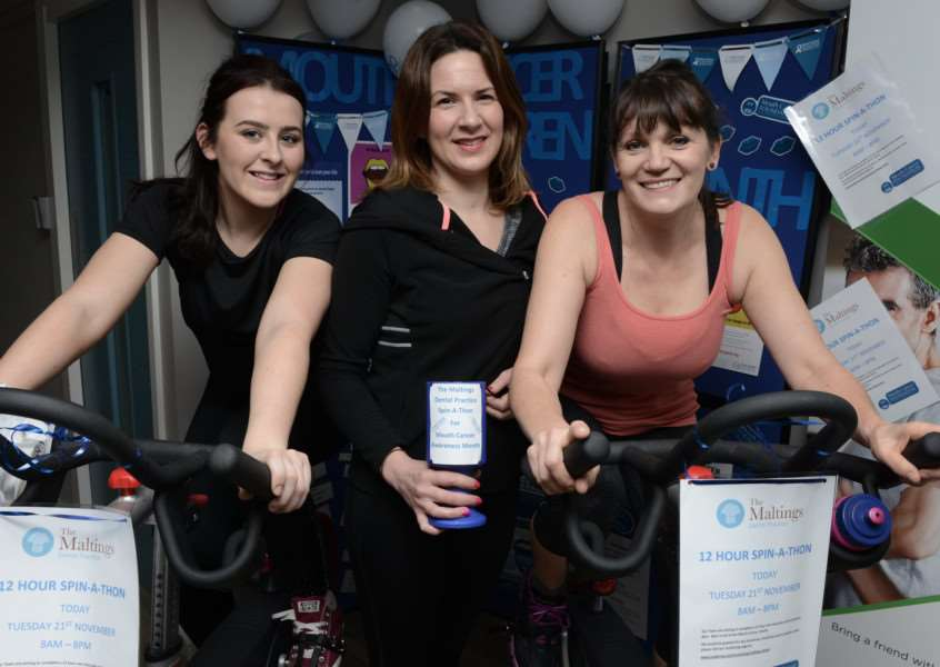 In a spin: From left, Lauren Chappel, Louise Butler and Isobel Bonnefin