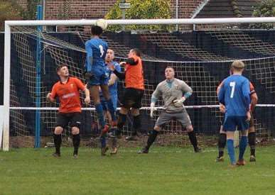 Jawanza Grant heads home the winning goal for Harrowby United. Photo: Kevin Lilley