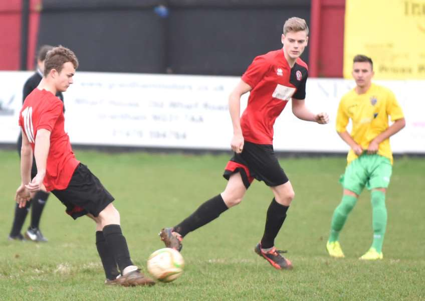 Harrowby United's Fraser Bayliss and goalscorer Danny Durkin. Photo: Toby Roberts