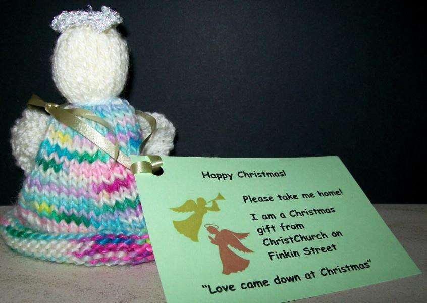 One of the knitted angels made by the TRUG group at ChristChurch in Grantham.