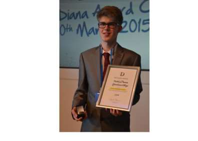Matthew Annan with his Diana Courageous Award.