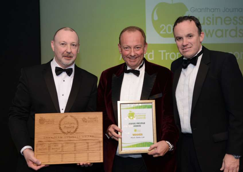 Winner Mark Bates Ltd with Nigel Rivers of sponsors Pentangle Engineering and Stuart Pigram of Grantham Business Club.