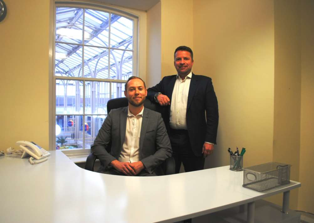 Chris Buck, left, and Howard Rudder are setting up their new business Recruitme in the George Centre in Grantham. Photo: 0305A