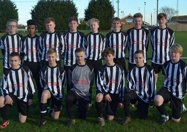 Pictured in their new away kit, kindly sponsored by MM Dixon Groundworks, Harrowby United under-14s are from left, back - Kye Hull, Marley Okoth, Joe Angeloni, Bradley Johnson, Kyle Cooper, Henry Dilley, Joe Down and Matt Cox; front - Max Fedorson, Dominic Foister, Joshua Ward, Adam Meffen, Josh Beeston and Owen Rowley. eCGOnJIbLUxeYYtlp-PG