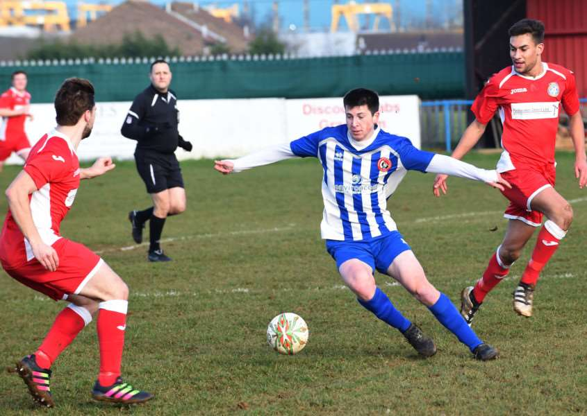 Action from Harrowby United's game against Desborough Town on Saturday. Photo: Toby Roberts