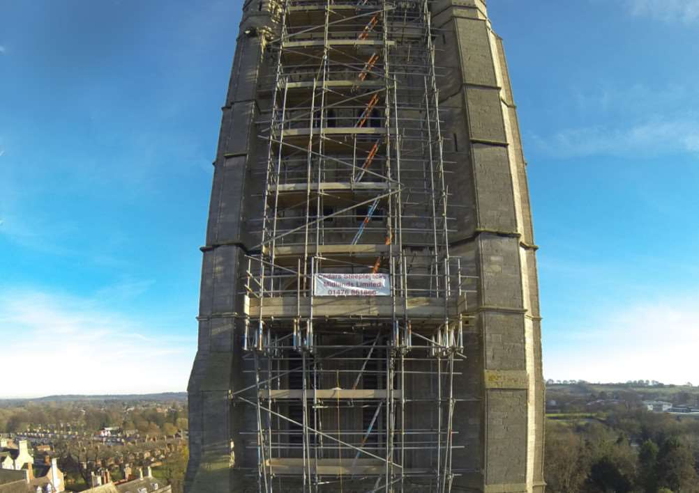 St Wulfram's spire under repair in December 2014. Photo: Roger Graves