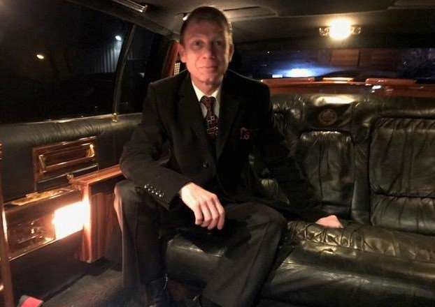 Harlaxton man Gareth Bowles sitting in the Cadillac designed by Donald Trump.