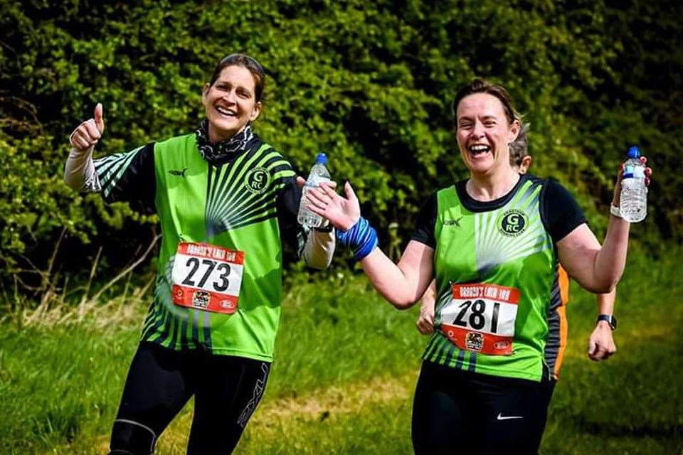 (L to R): Claire Fritz and Amanda Mumby of Grantham Running Club taking part in the Dragon's Lair 10K on Sunday 28th April 2019.Please credit picture 'Stephen Lee'. For editorial use only. (9403470)