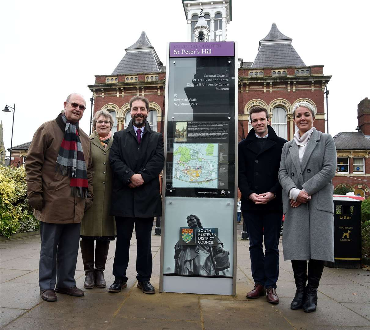 Pictured with the wayfinding board on St Peter's Hill are, from left - Courtney Finn, Ruth Crook, Steve Bowyer, Coun Kelham Cooke and Coun Helen Goral. (24619892)