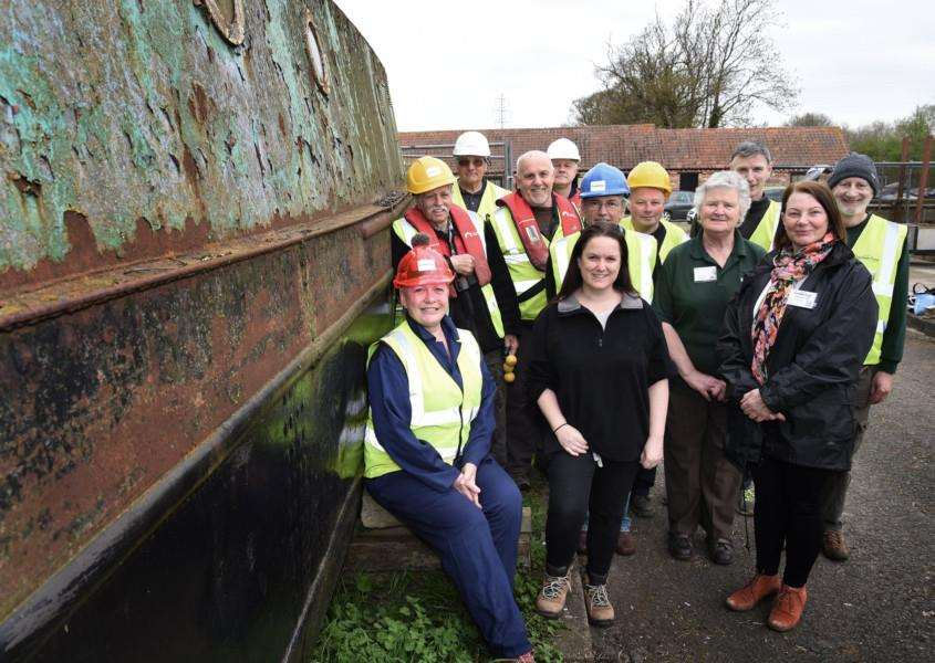 Journal reporter Tracey Davies (front, centre) joins Grantham Canal Society volunteers.