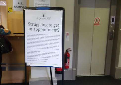 Notice in St Peter's Hill Surgery