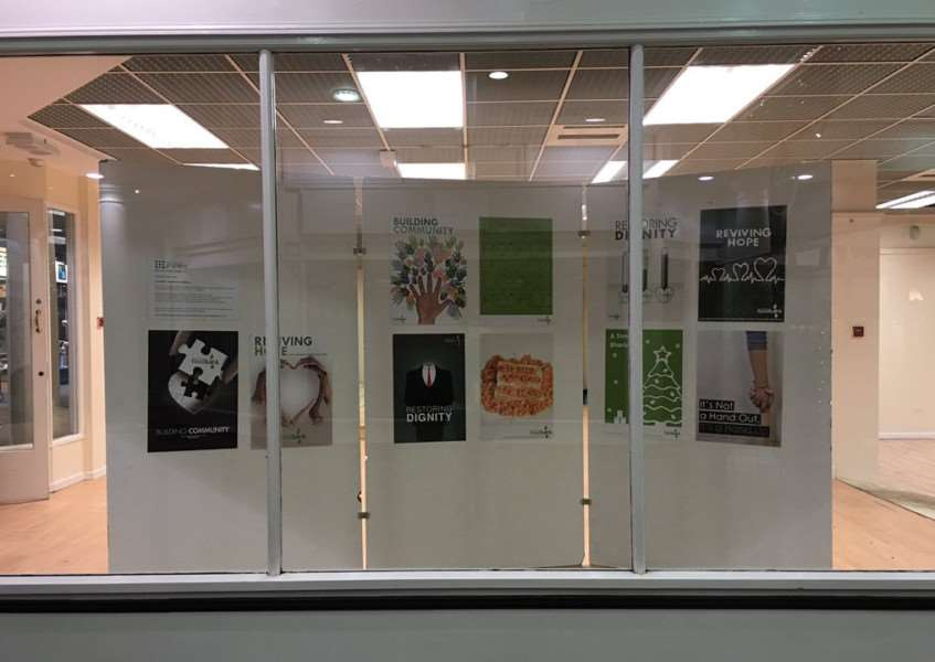 The pop-up display of Grantham College students' posters for Grantham Foodbank.