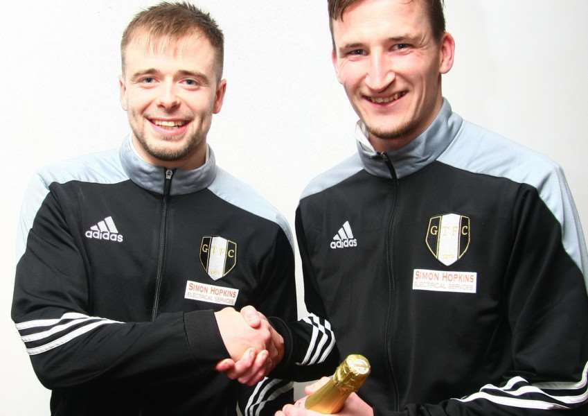 Tuesday night's league cup semi-final goal scorer Lee Shaw (left) and man of the match Danny Meadows. Photo: Mike Gaffney