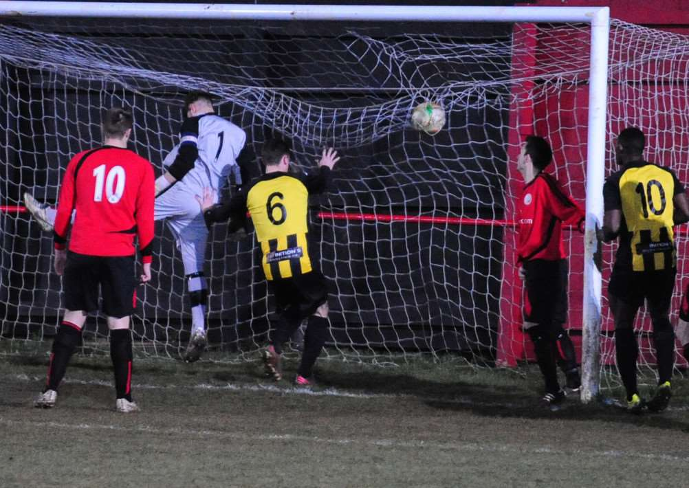 Harrowby United concede to Holbeach from close range. Photo: Toby Roberts