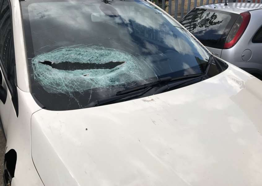 Metal crashed through Katie's car windscreen narrowly missing her four-year-old son.