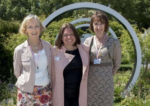 Sue Stannard, left, is pictured with garden designer Ruth Willmott and Benita Travers in The Breast Cancer Now Garden: Through the Microscope.