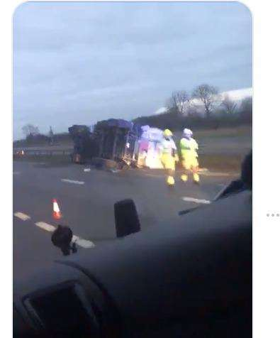 Still from a video of the overturned lorry on the A1 posted by Steve Maslin. (6455095)
