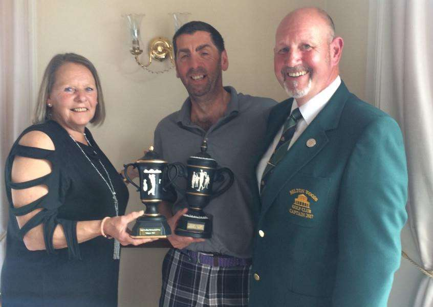 Pictured from left are Belton Woods' Rina Ozalins, captain's away day winner Chris White and captain John Harrison.