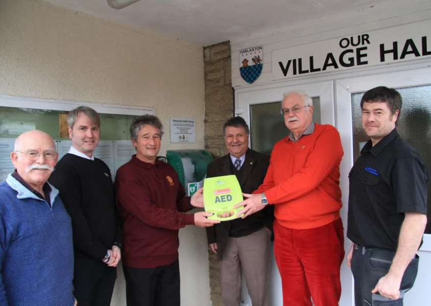 Life-saving defibrillator installed at Harlaxton Village Hall.Present at the opening were, from left - Kevin Lawry, Jason Hepplestone, Irvin Metcalf, Mos Kalbassi, Roger Blakeman and,Anthony Fletcher.