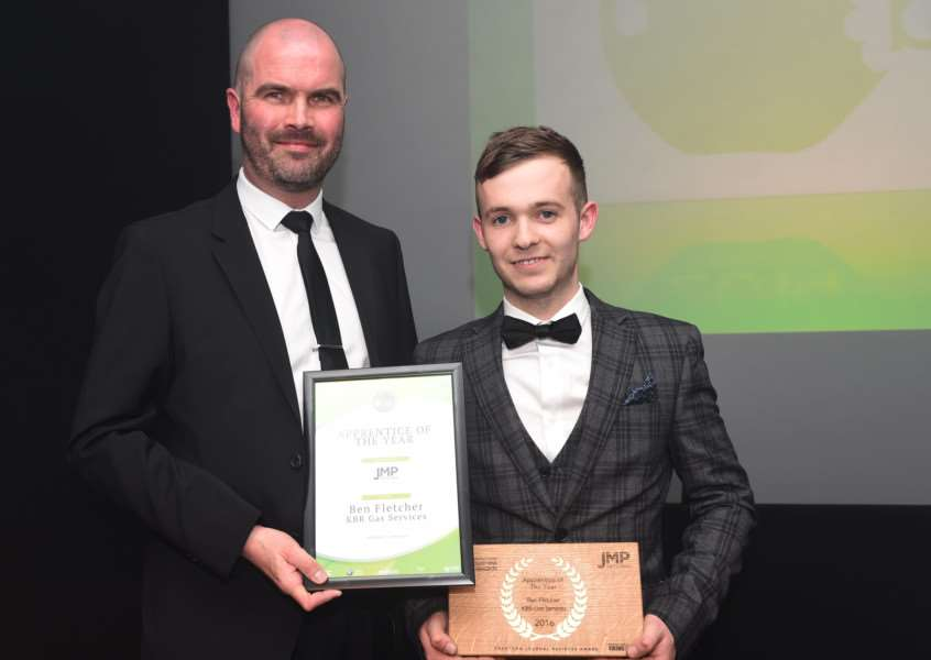 Ben Fletcher, of KBR Gas Services, was Apprentice of the Year at the Grantham Journal Business Awards 2016. EMN-160414-154536001