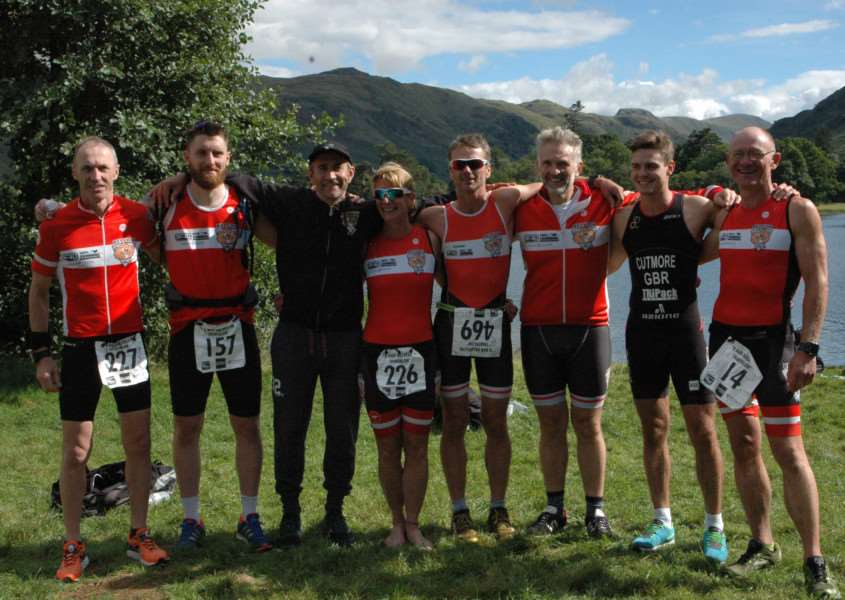 Helvellyn conquerers, from left - Gerry Hyde, Kyle Fisher, Chris Pugh, Louise Hyde, Mark Wilson, Blake Hutchinson, Patrick Cutmore and Ove Andresen.