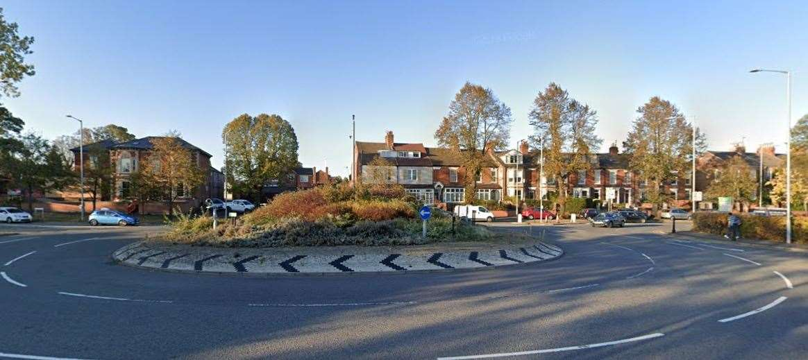 The roundabout where Sankt Augustin way meets Barrowby Road, image: Google Streetview. (46656577)