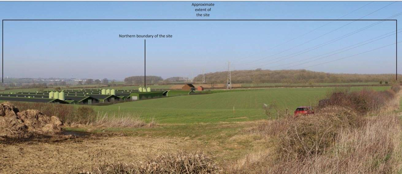 An image included in a planning application to build a chicken farm at Great Ponton, which the developer says shows development from High Dyke, looking north-west. (27837700)