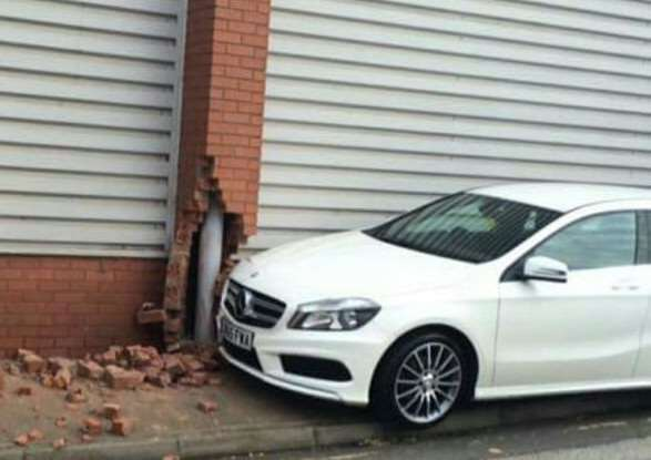 Photo tweeted to the Journal by Mark Hipkiss shows the damage caused by a runaway Mercedes.
